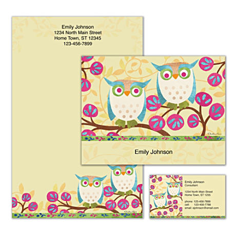 Personalized Stationery With Cheerful Challis & Roos Owl Art