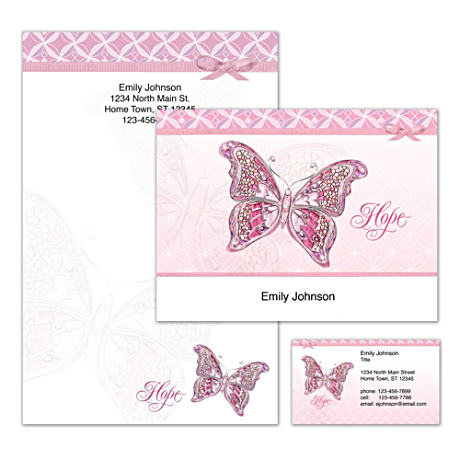 Personalized Butterfly Stationery Supports Cancer Awareness
