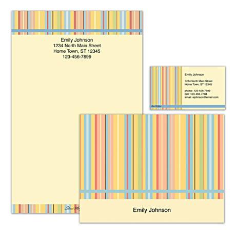 Personalized Stationery With Colorful Stripe Art