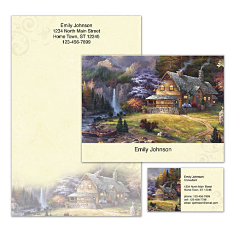 Personalized Stationery With Cabin Art