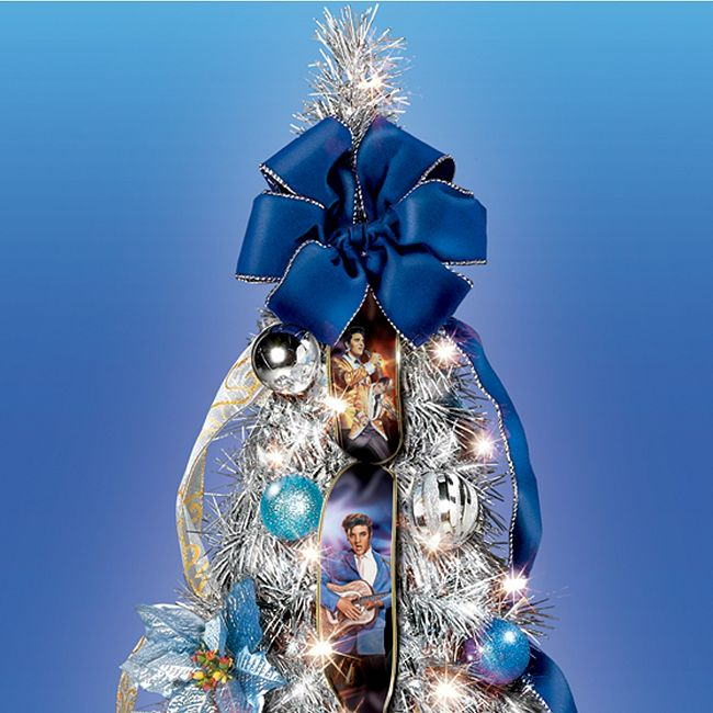 Pull Up Decorated Christmas Tree: The Elvis Blue Christmas Pull-Up Christmas Tree: Pre-Lit
