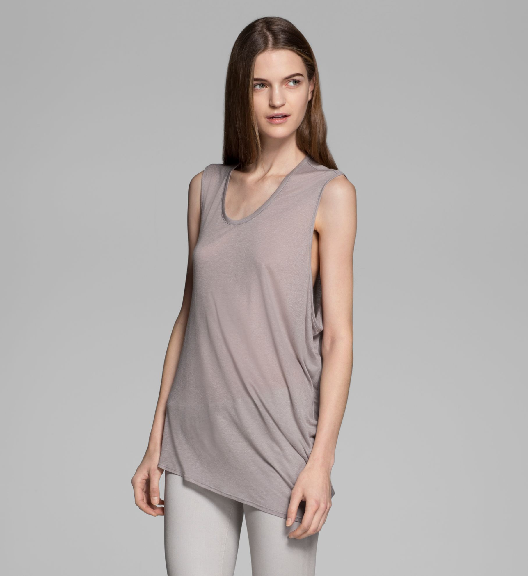 POLISHED SLUB JERSEY SLEEVELESS TOP