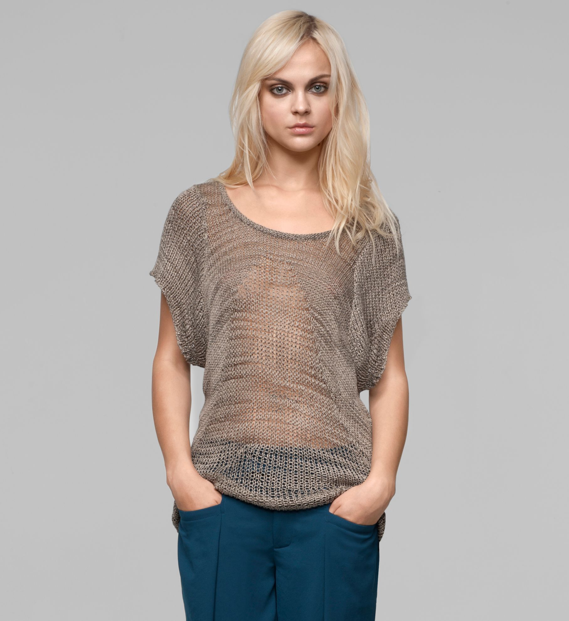 MARLED VISCOSE SHORT SLEEVE SWEATER