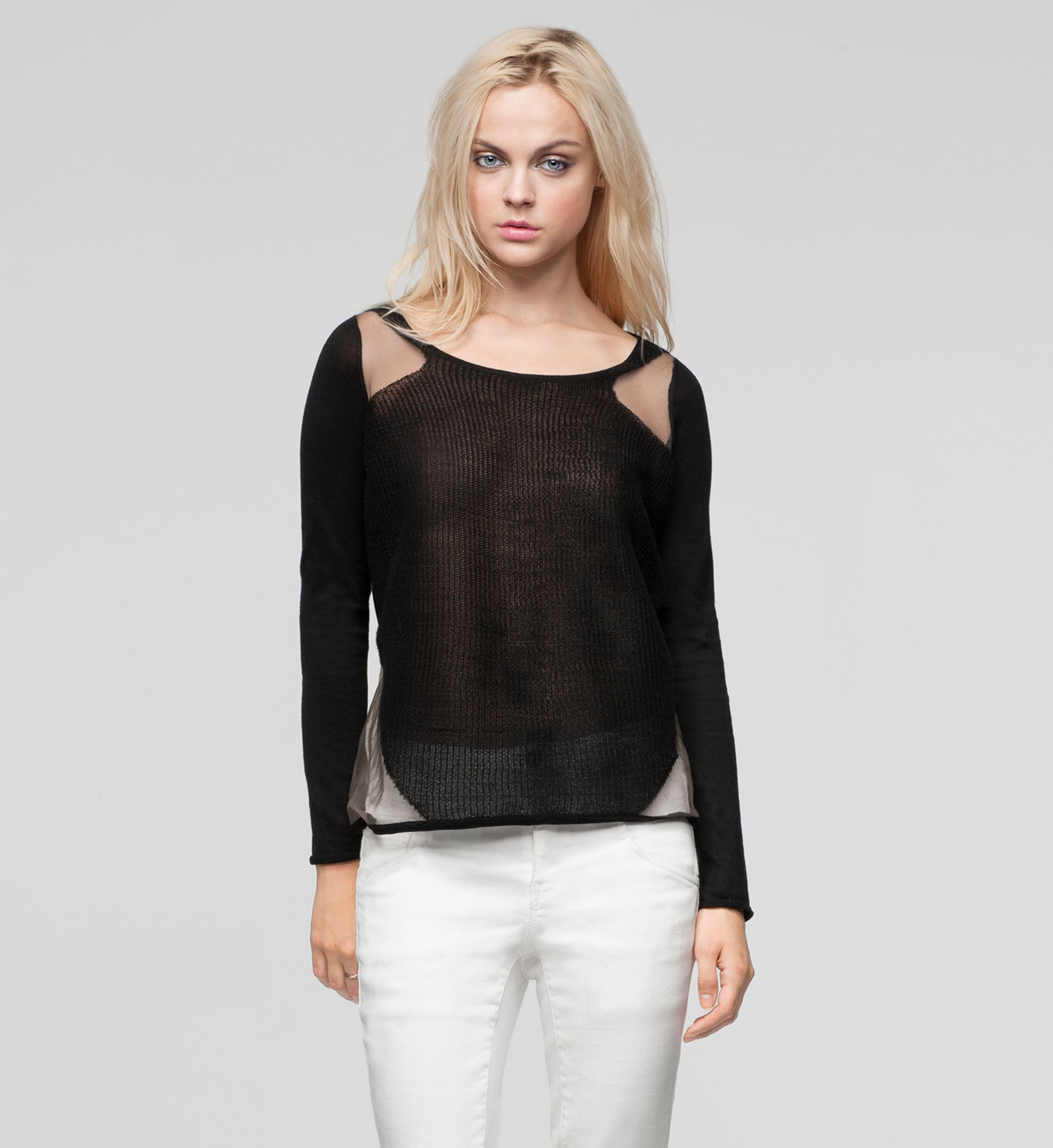 TRANSPARENT GRID SWEATER