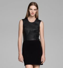 GALA KNIT LEATHER COMBO DRESS