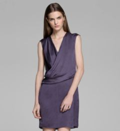 GLASSY SHIRTING DRAPED DRESS