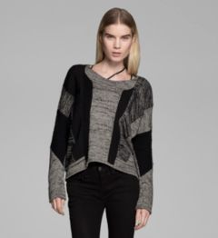 BLOCKED MELANGE LONG SLEEVE SWEATER
