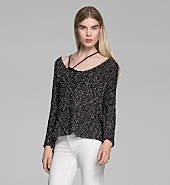 CAGED BOUCLE SIDE SLIT PULLOVER