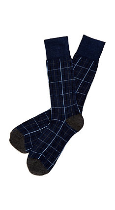Etiquette x Theory - Mens Harbour Windowpane Blue Socks