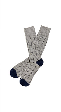 Etiquette x Theory - Womens Harbour Windowpane Grey Socks
