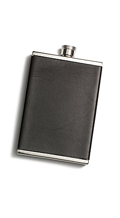 Men in Cities Leather on Stainless Steel Flask