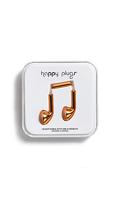 Happy Plugs Ear Bud Silver & Rose Gold Headphones