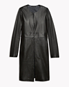 Double-Faced Leather Collarless Coat