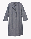 Linen Chambray Collarless Coat