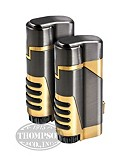 GUN METAL AND GOLD DUAL TORCH LIGHTER WITH CUTTER 2-FER