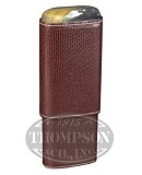 ANDRE GARCIA 3 FINGER BROWN LIZARD PATTERN LEATHER CASE WITH HORN TOP
