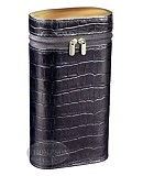 ANDRE GARCIA BLACK CROC PATTERN LEATHER ZIPPERED CASE WITH HORN AND WOOD SEPARATOR