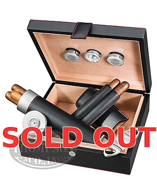 Black Leather 20 Count Humidor With Accessories