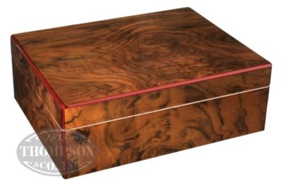 BARRONE 25 COUNT HIGH GLOSS WALNUT HUMIDOR