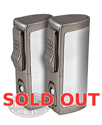 Silver Triple Torch Lighter With Punch Cutter 2-Fer