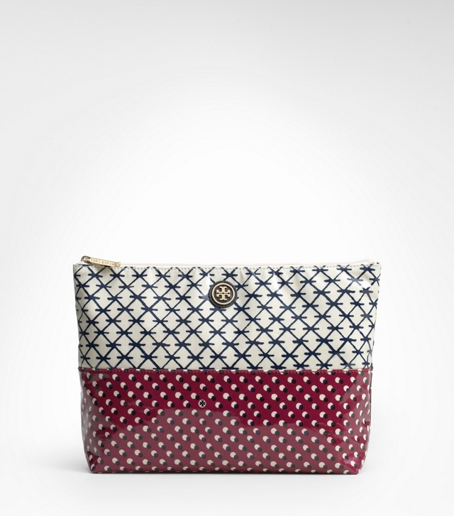 Printed Coated Poplin Large Cosmetic Case