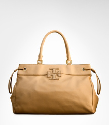 Leather Stacked Logo Tote