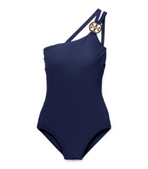 Tory Navy Tory Burch Logo One-shoulder Maillot