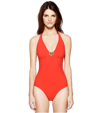 Poppy Red Tory Burch Logo One-piece