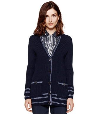 Med Navy / Light Chambray Tory Burch Mallorie Cardigan