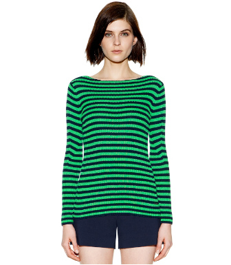 Summer Green Even Stripe  Tory Burch Verona Sweater
