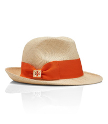 Natural Straw W/ Fire Orange Grosgrain Tory Burch Classic Grosgrain Fedora