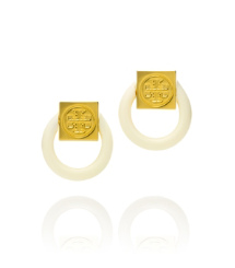 Ivory/shiny Gold Tory Burch Varden Resin Earring