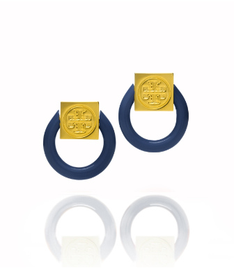 Tory Navy/shiny Gold Tory Burch Varden Resin Earring