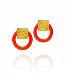 Flame Red/shiny Gold Tory Burch Varden Resin Earring