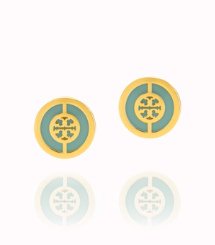 Bright Mint/shiny Gold Tory Burch Deco Logo Stud Earring