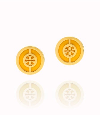 Daisy/shiny Gold Tory Burch Deco Logo Stud Earring