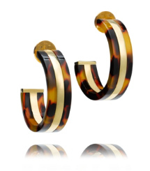 Tortoise/shiny Gold Tory Burch Wyatt Large Hoop Earring