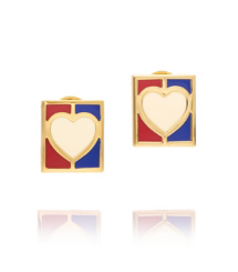 AHOY HEART FLAG POST EARRING