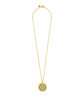 Mint/shiny Gold Tory Burch Deco Logo Pendant Necklace