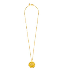 Daisy/shiny Gold Tory Burch Deco Logo Pendant Necklace