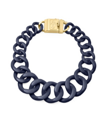 Tory Navy/shiny Gold Tory Burch Resin Necklace With Monogram Clasp