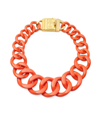 Fire Orange/shiny Gold Tory Burch Resin Necklace With Monogram Clasp