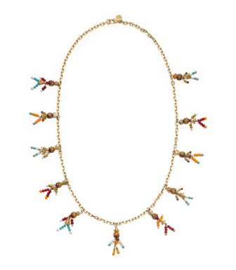 Tory Burch Beaded Tassel Rosary Necklace