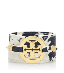 Abbot A/normandy Blue Tory Burch Printed Logo Wide Double Snap Cuff