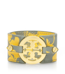 Abbot B/luggage Tory Burch Printed Logo Wide Double Snap Cuff