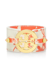 Abbot C/ivory Tory Burch Printed Logo Wide Double Snap Cuff