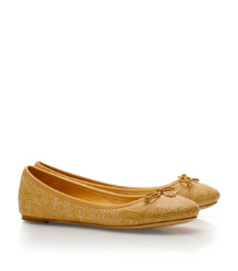 Iced Coffee Tory Burch Stitched Logo Chelsea Ballet Flat