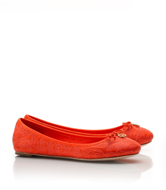 New Fire Orange Tory Burch Stitched Logo Chelsea Ballet Flat