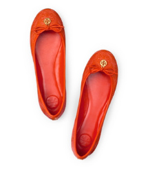 New Fire Orange Tory Burch Chelsea ballerina Mit Logostickerei
