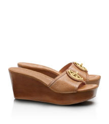 Royal Tan Tory Burch Selma Mittelhoher Slipper Mit Keilabsatz